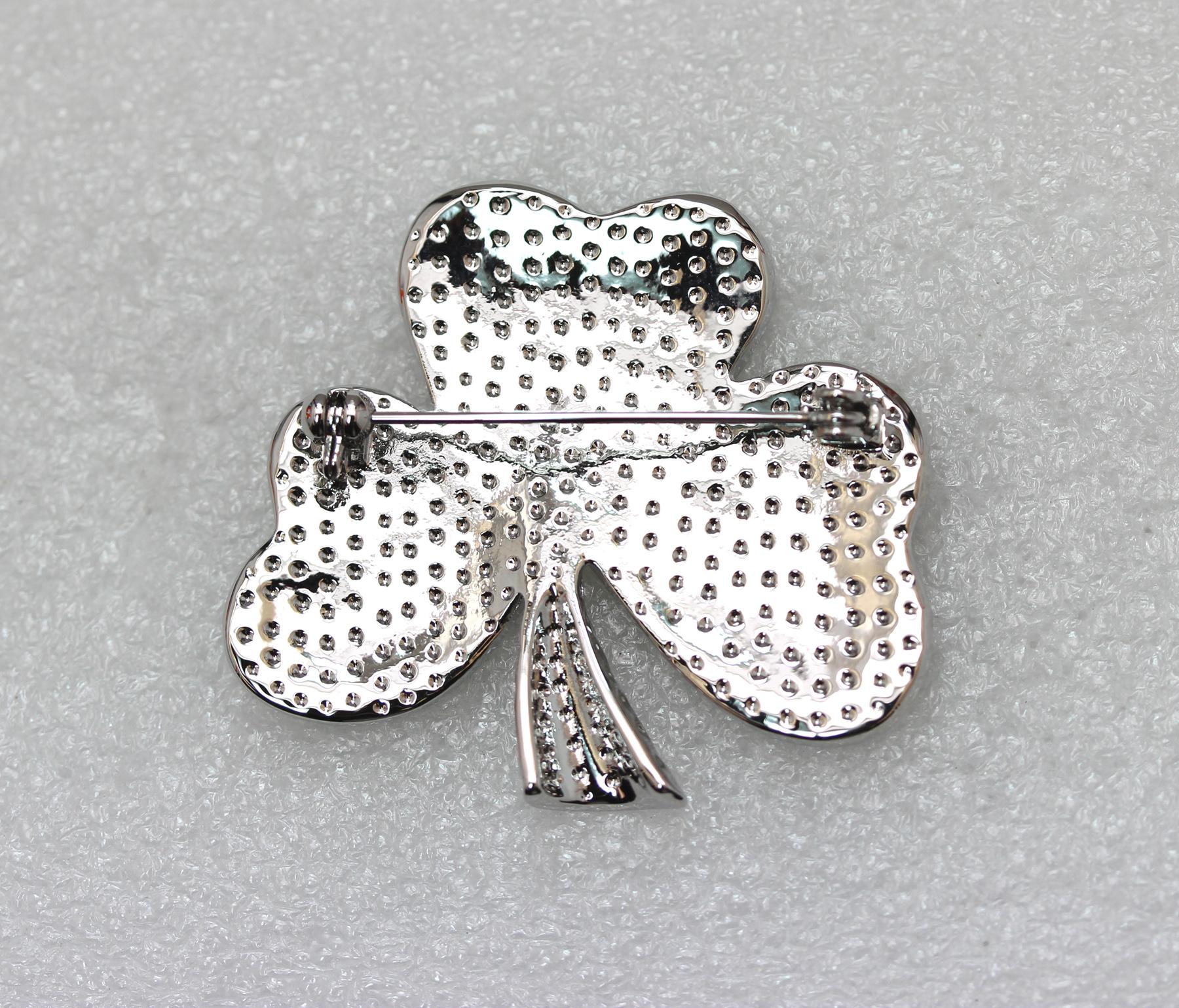 Emerald-Color-Green-Crystal-Shamrock-Clover-Leaf-Pin-Brooch-St-Patricks-Day thumbnail 11