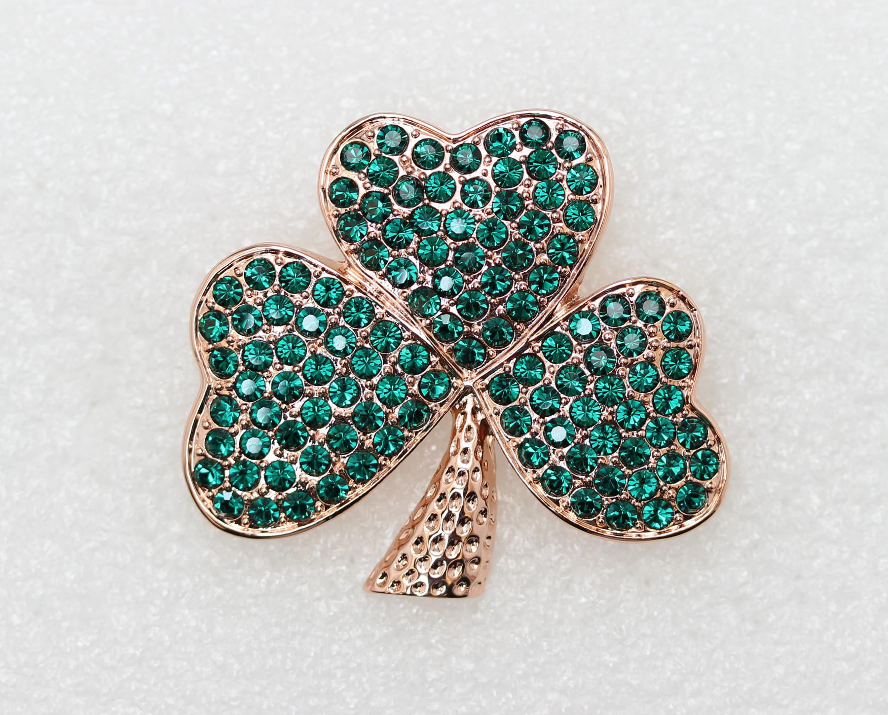 Emerald-Color-Green-Crystal-Shamrock-Clover-Leaf-Pin-Brooch-St-Patricks-Day thumbnail 4