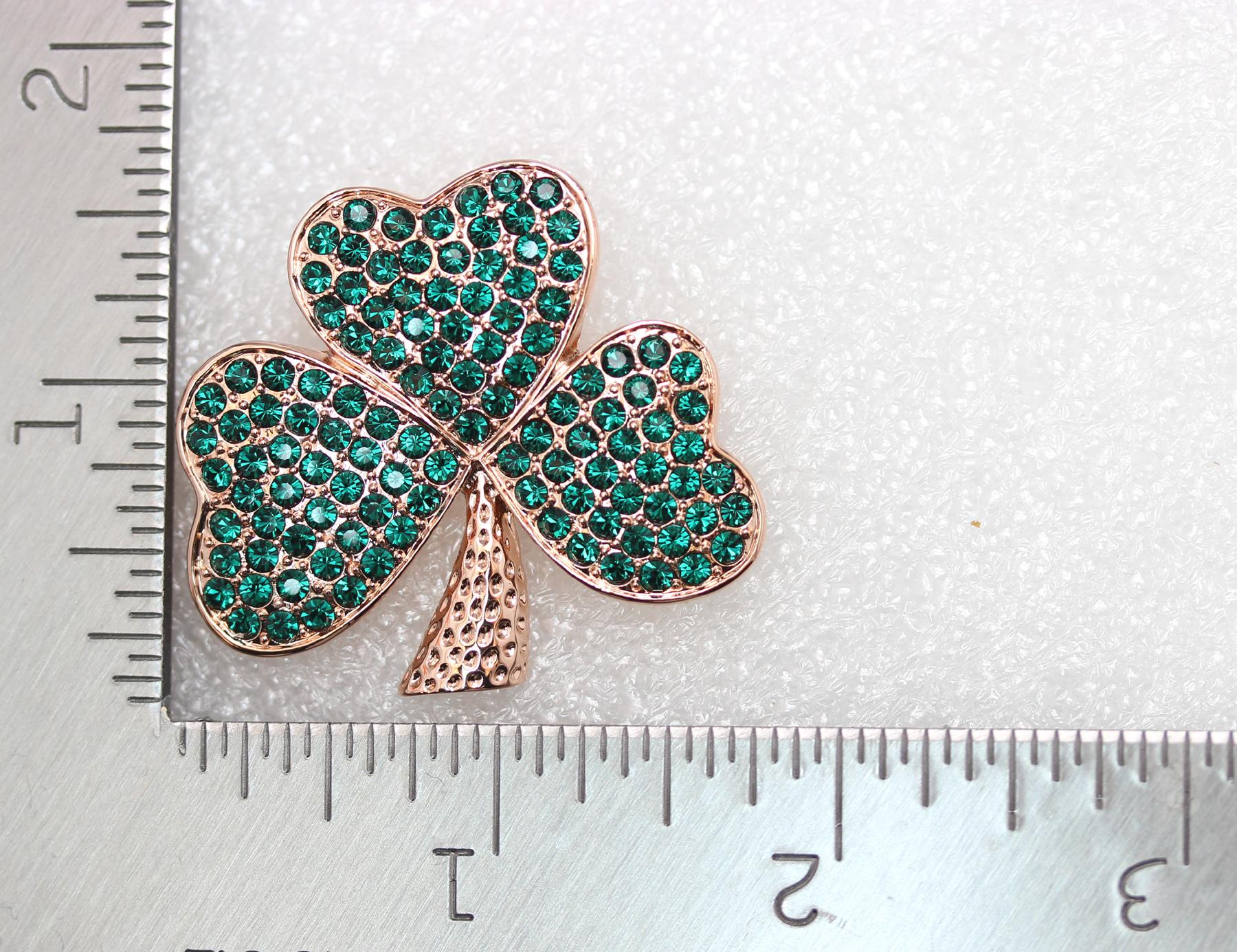 Emerald-Color-Green-Crystal-Shamrock-Clover-Leaf-Pin-Brooch-St-Patricks-Day thumbnail 5