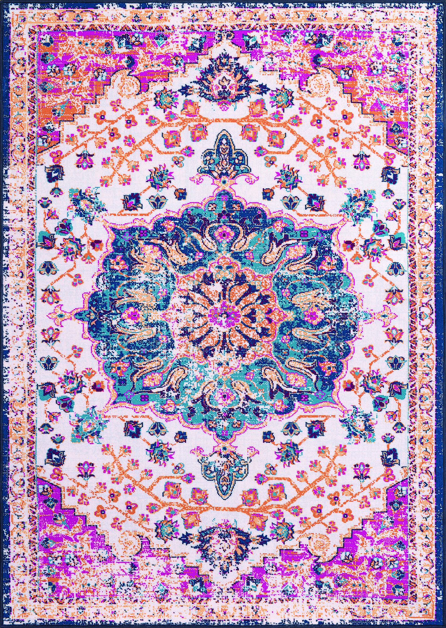 Multi Color Vintage Medallion Oriental Transitional Area