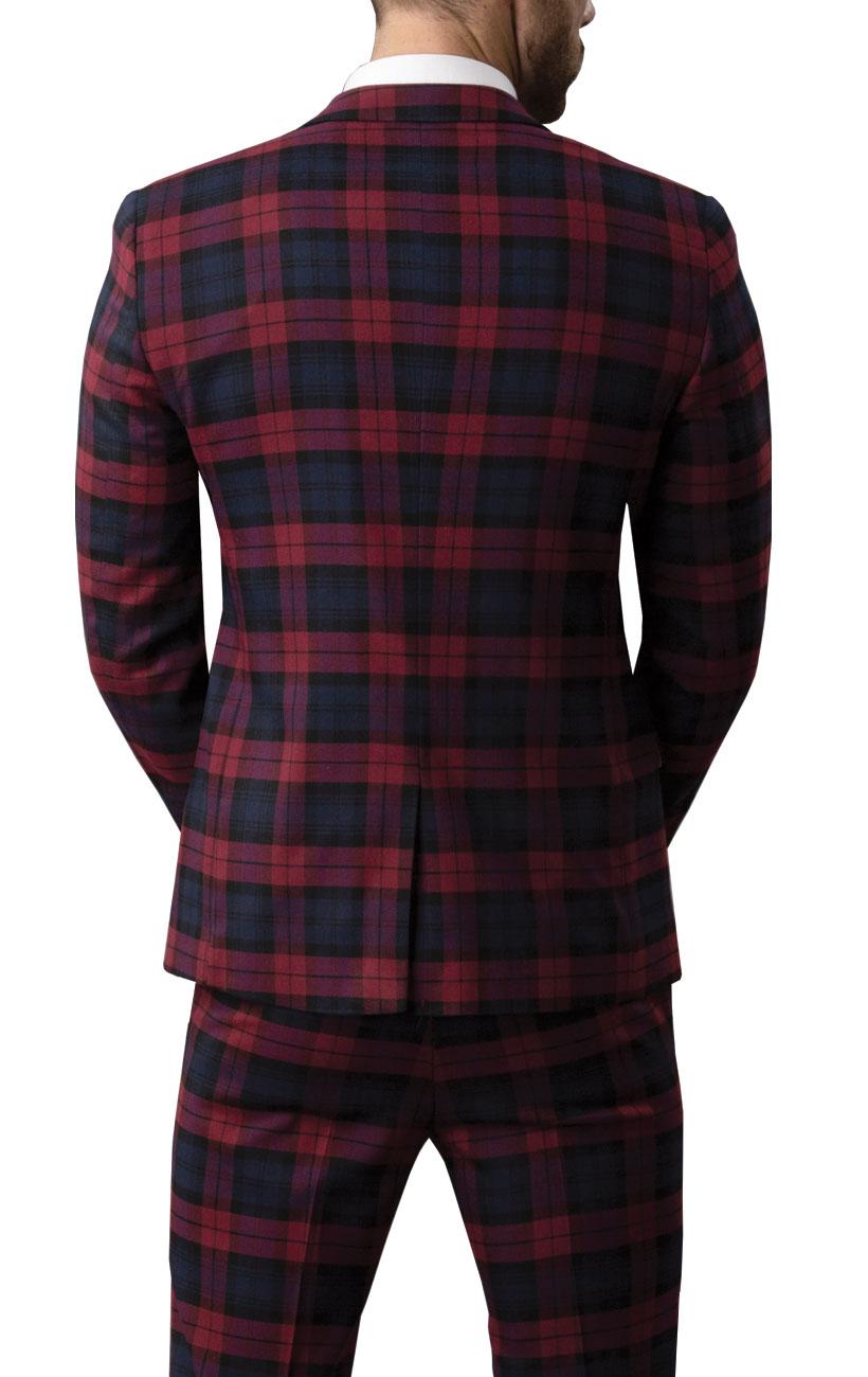 07fe0fcdab1d Avail London Mens Burgundy Tartan Suit Jacket Slim Fit Notch Lapel ...