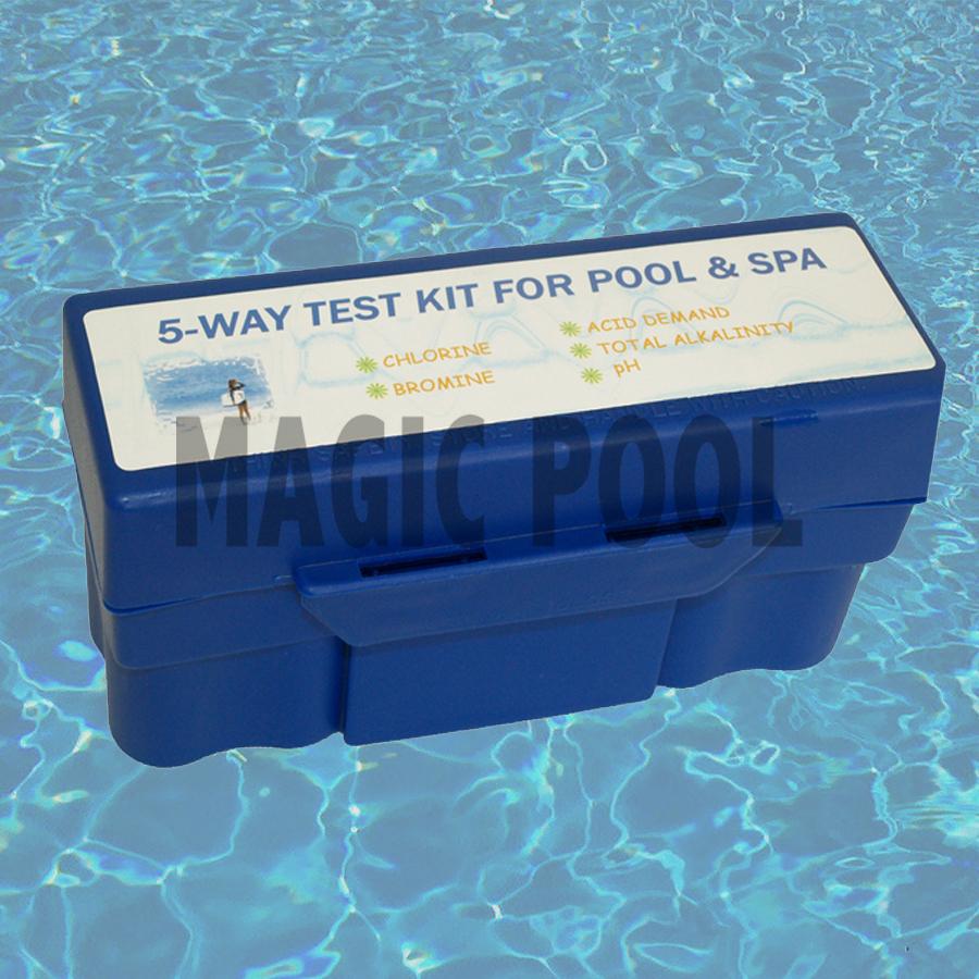 5Way Pool Spa Water Chemical Test kit chlorine ph bromine alkalinity acid demand