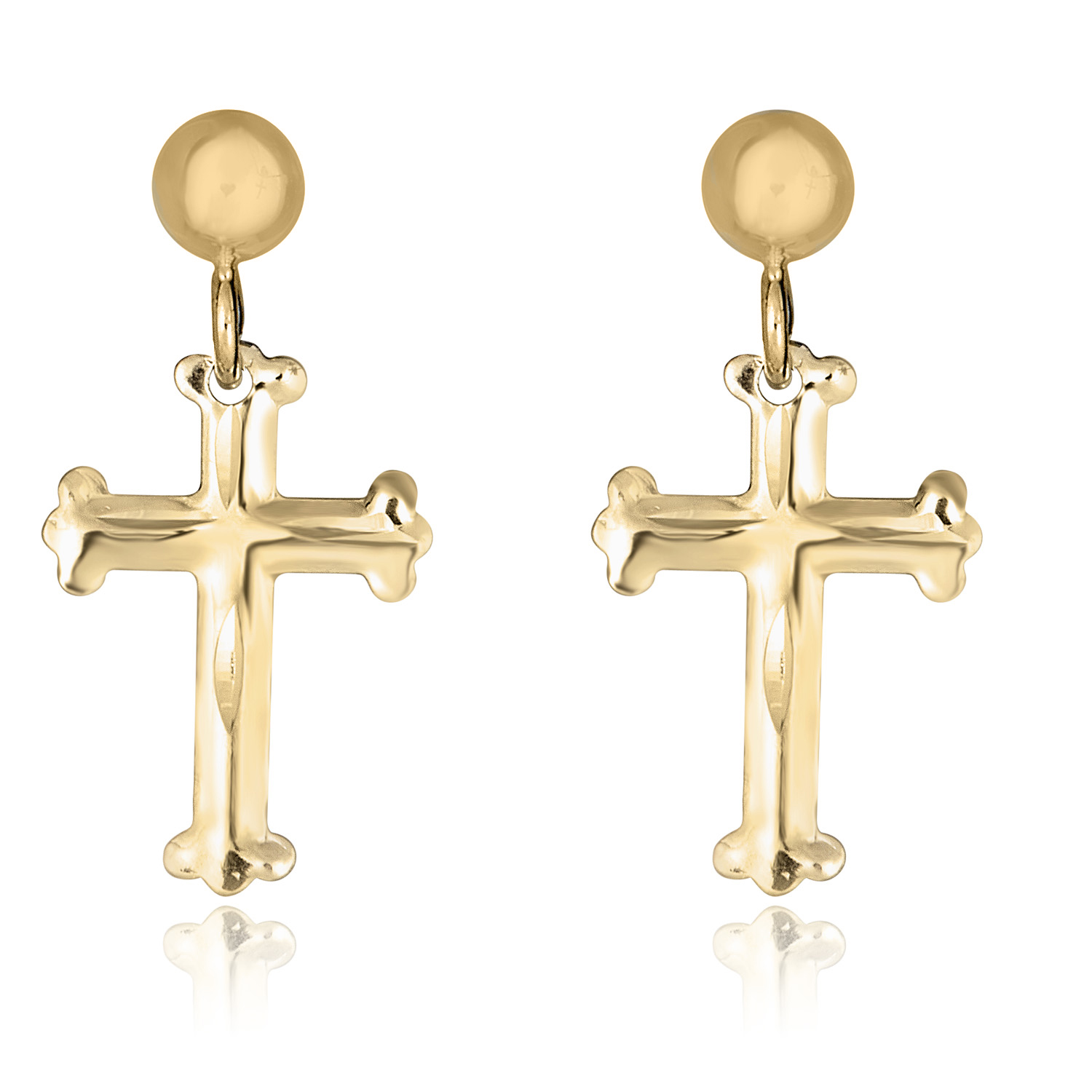 10K Yellow Gold Dangling Cross Earrings