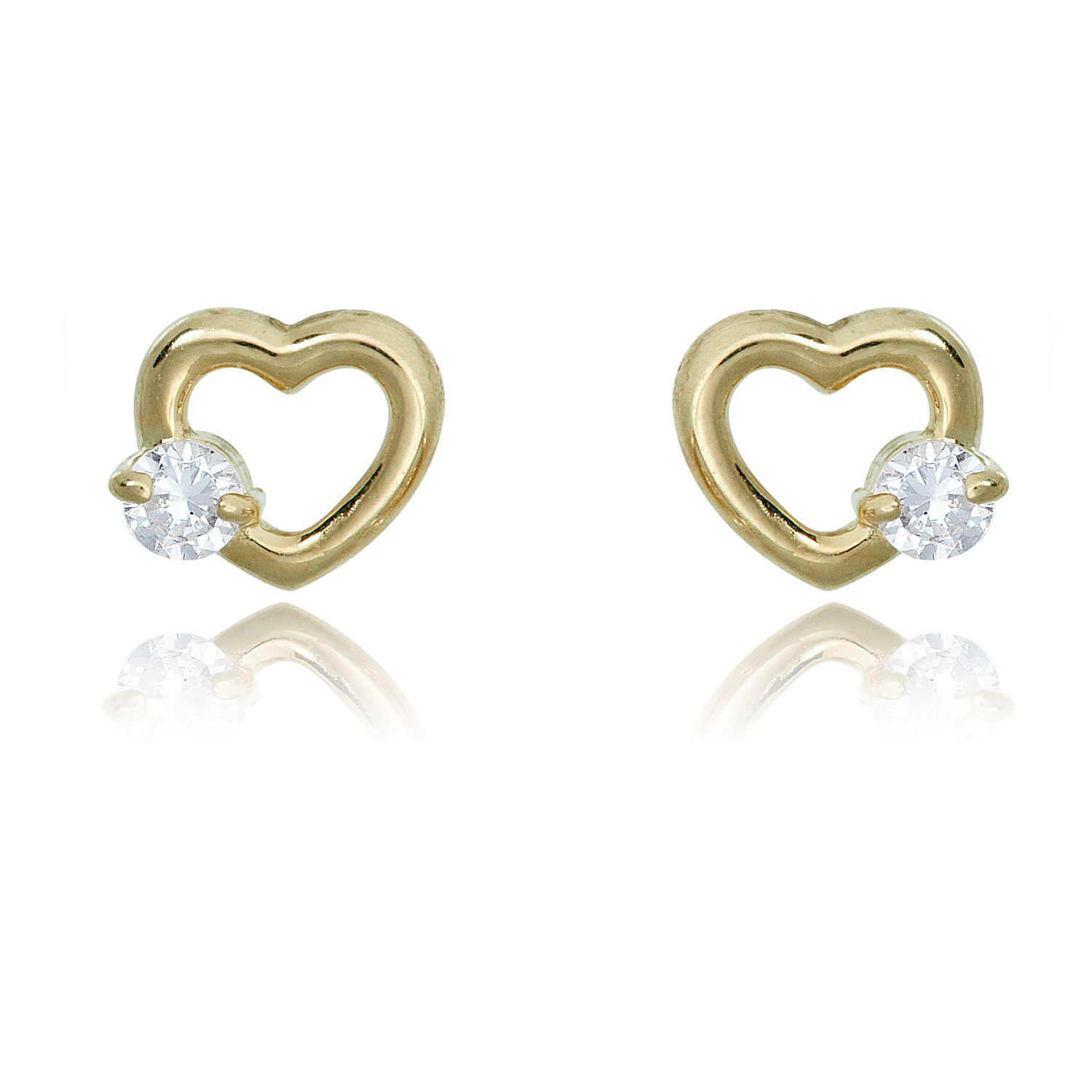 10K Gold Round Simulated Diamond CZ Stud Earrings in Yellow or White Gold