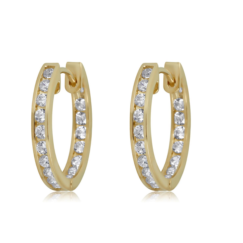 10K Yellow Gold 2-Row Cubic Zirconia CZ Huggie Hoop Earrings 13mm