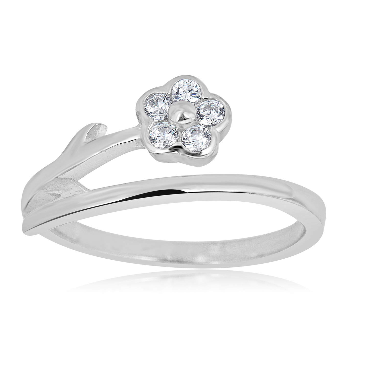 Cubic Zicronia Toe Ring Adjustable Silver 925