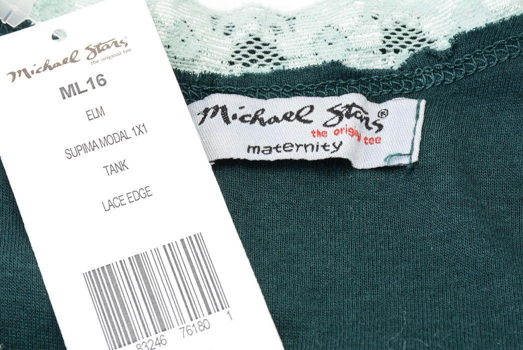 Michael Stars Maternity Elm Green OSFA lace trim edge Supima tank top New $48