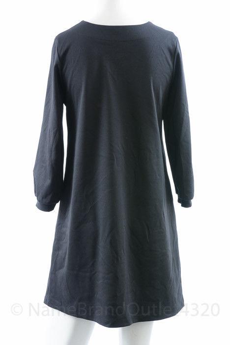 ee07639f466 Maternal America Maternity black S 4 6 ponte split neck shift dress NEW  140