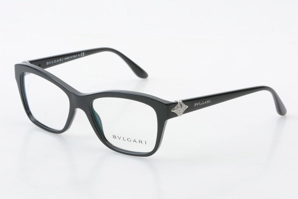 2a4628d9800f Bulgari 4080-B black plastic rhinestone square demo frame eyeglasses NEW   330