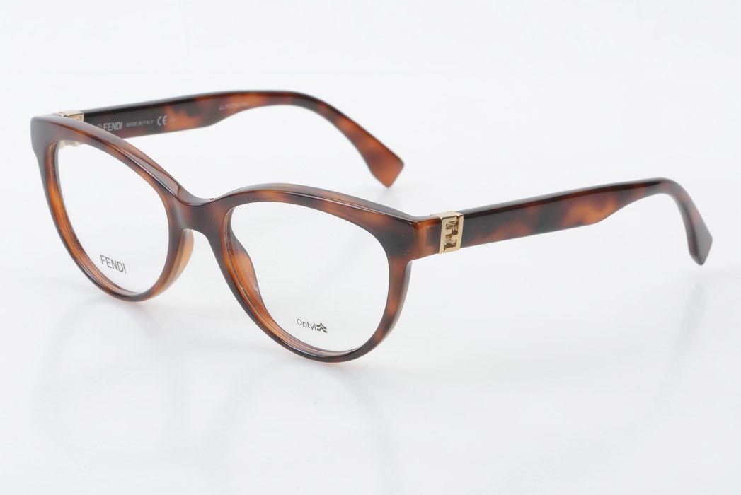 66a04934728 Details about Fendi FF0008 brown plastic cat eye gold logo demo frame  eyeglasses NEW  365