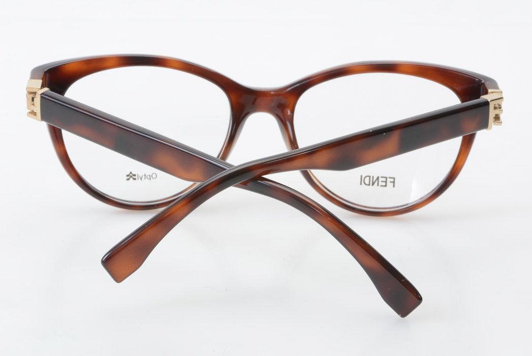 d964e195692d Fendi FF0008 brown plastic cat eye gold logo demo frame eyeglasses NEW  365