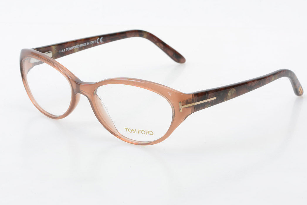 b2240d1198bc4 Details about Tom Ford TF5244 brown pink oval modified cat eye demo frame  eyeglasses NEW  440