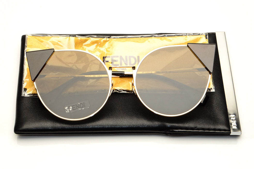 992c64a432b Fendi Lei FF0190 S gold black Palladium cat s eyes frame sunglasses NEW  540