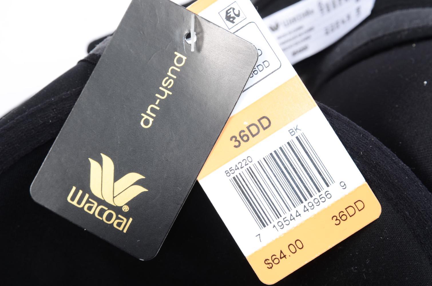 1b34e89953 Wacoal 854220 Amazing Assets black 36DD strapless underwire push-up bra NEW   64