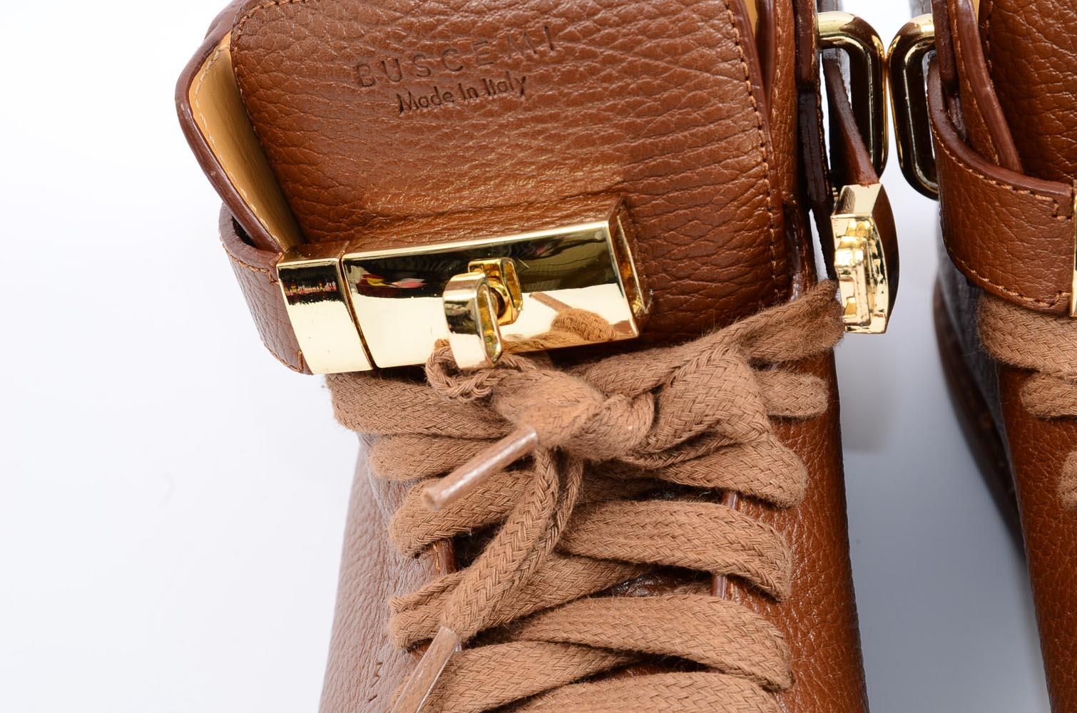 e1c213dce7bdd Buscemi light brown 7 40 leather turn lock round toe high top sneaker shoe  $890