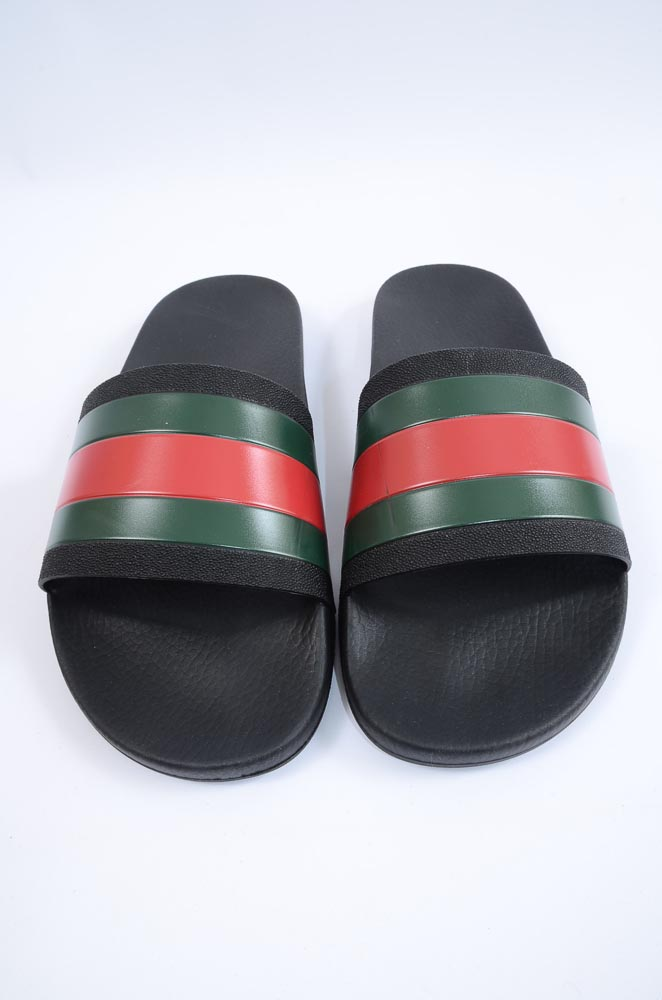 08c5e4d99 Gucci Pursuit black multi 10 rubber signature stripe slide sandal UK9 shoe   210