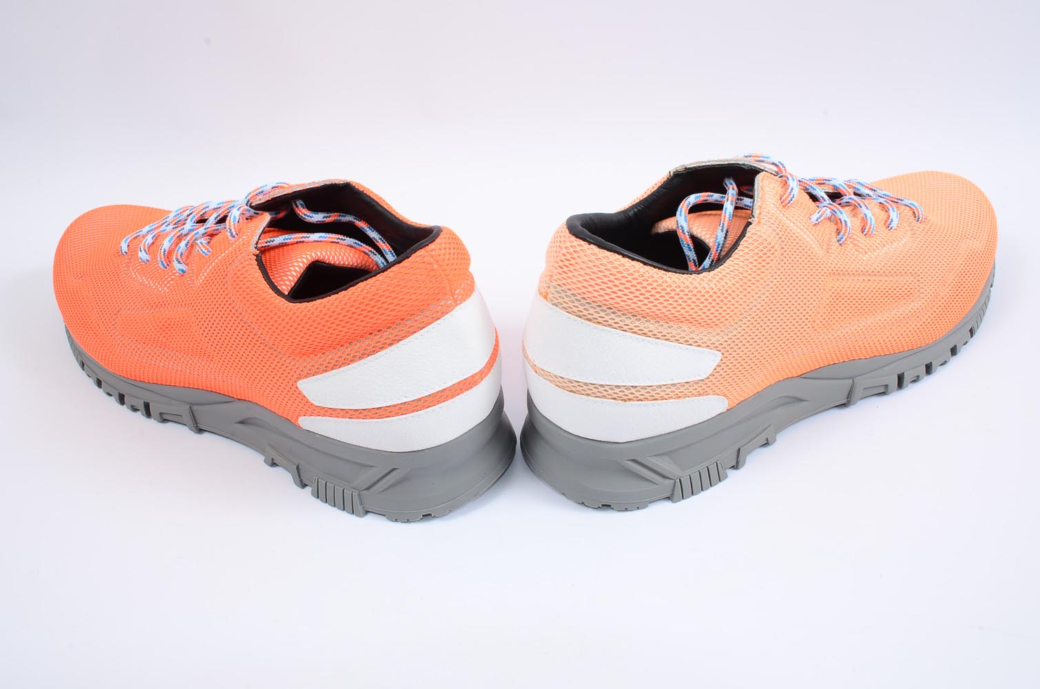 3cf2f4d8d21 Lanvin orange white 12 mesh overlay leather round toe sneaker UK11 shoe NEW   725