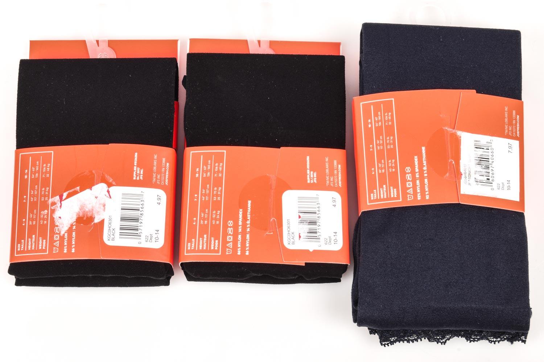 Joe Fresh black midnight 10-14 footless footsie 3 pack tights bundle