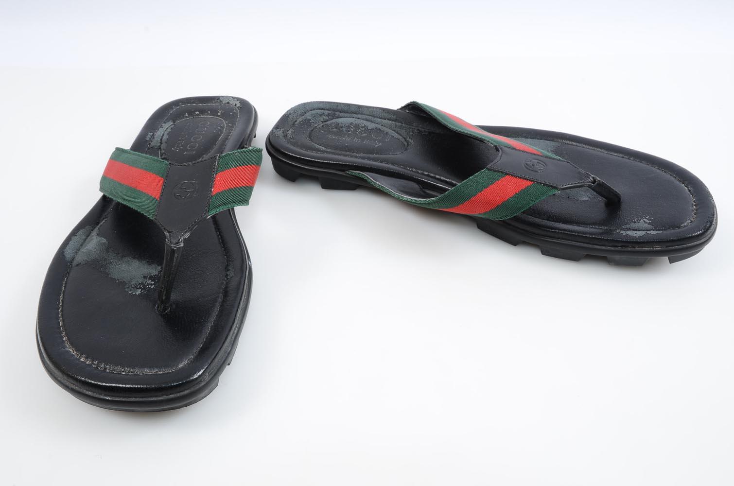e757df91b Gucci black multi 9 signature GG striped web flip flop sandal UK8 shoe  370
