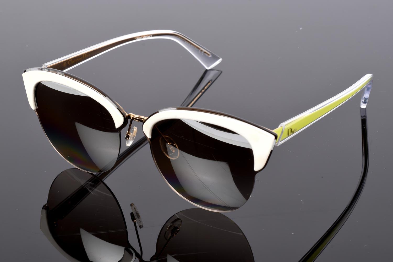 ef3554ebd1 Christian Dior Run white multi semi-rimless cat's eyes frame sunglasses NEW  $395