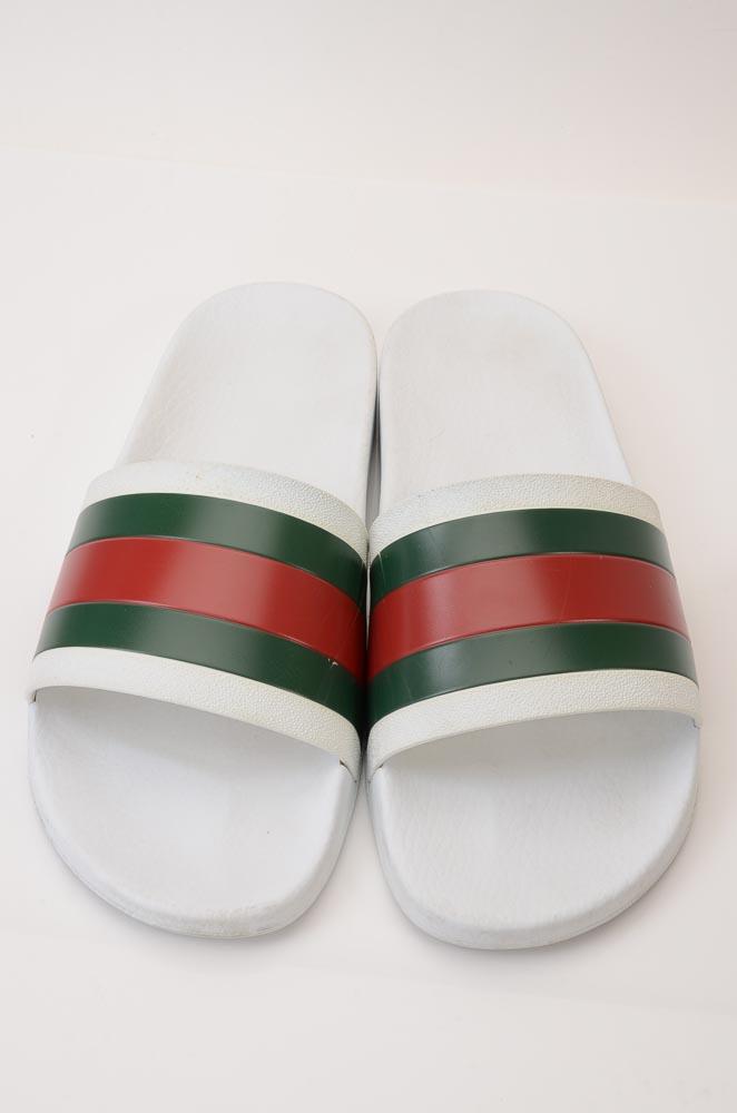 3c8929b51 Gucci Pursuit 72 white multi 12 signature stripe slide sandal UK11 shoe $210