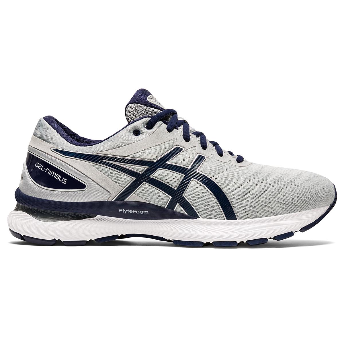 Men's Asics Gel-Nimbus 22 Running Shoe - Color: Piedmont Grey/Peacoat - Size: 6 - Width: Regular, Piedmont Grey/Peacoat, large, image 1
