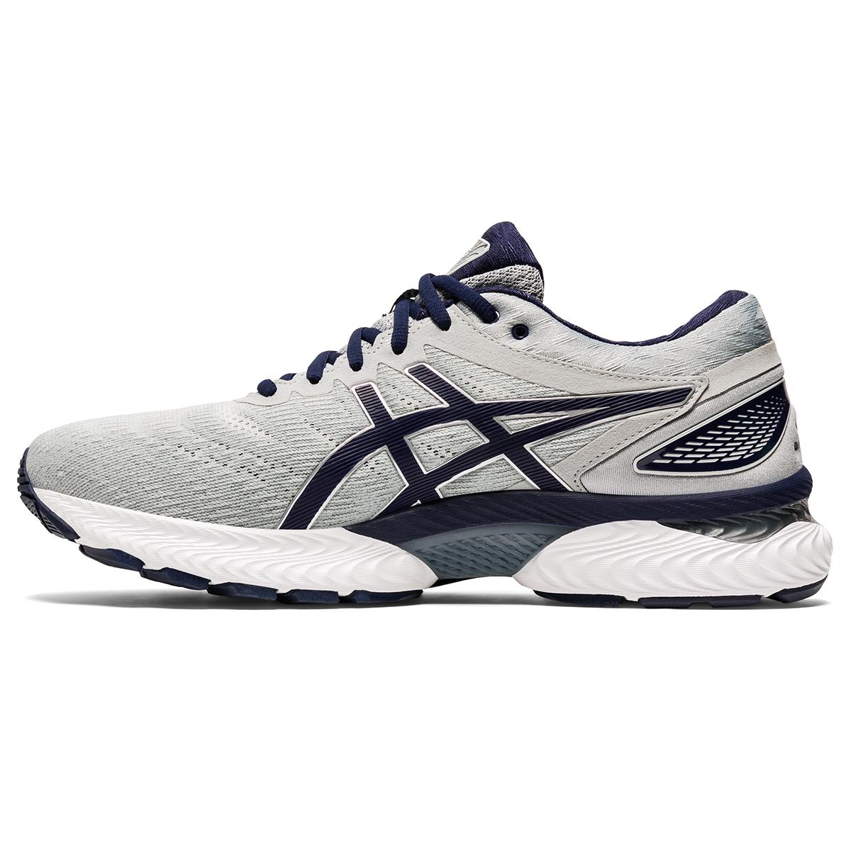 Men's Asics Gel-Nimbus 22 Running Shoe - Color: Piedmont Grey/Peacoat - Size: 6 - Width: Regular, Piedmont Grey/Peacoat, large, image 2