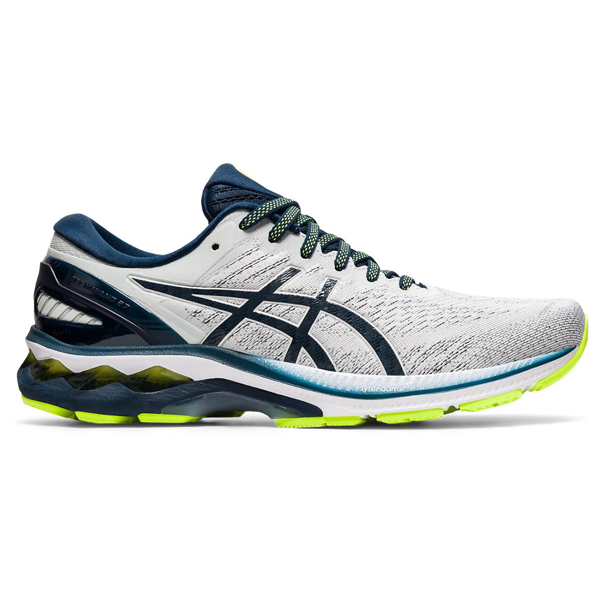 Men's Asics Gel-Kayano 27 Running Shoe - Color: Grey/Green/Blue - Size: 7 - Width: Regular, Grey/Green/Blue, large, image 1