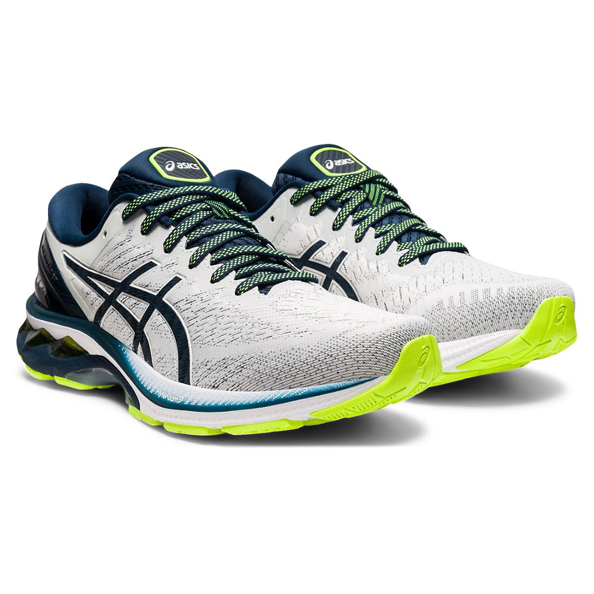 Men's Asics Gel-Kayano 27 Running Shoe - Color: Grey/Green/Blue - Size: 7 - Width: Regular, Grey/Green/Blue, large, image 4