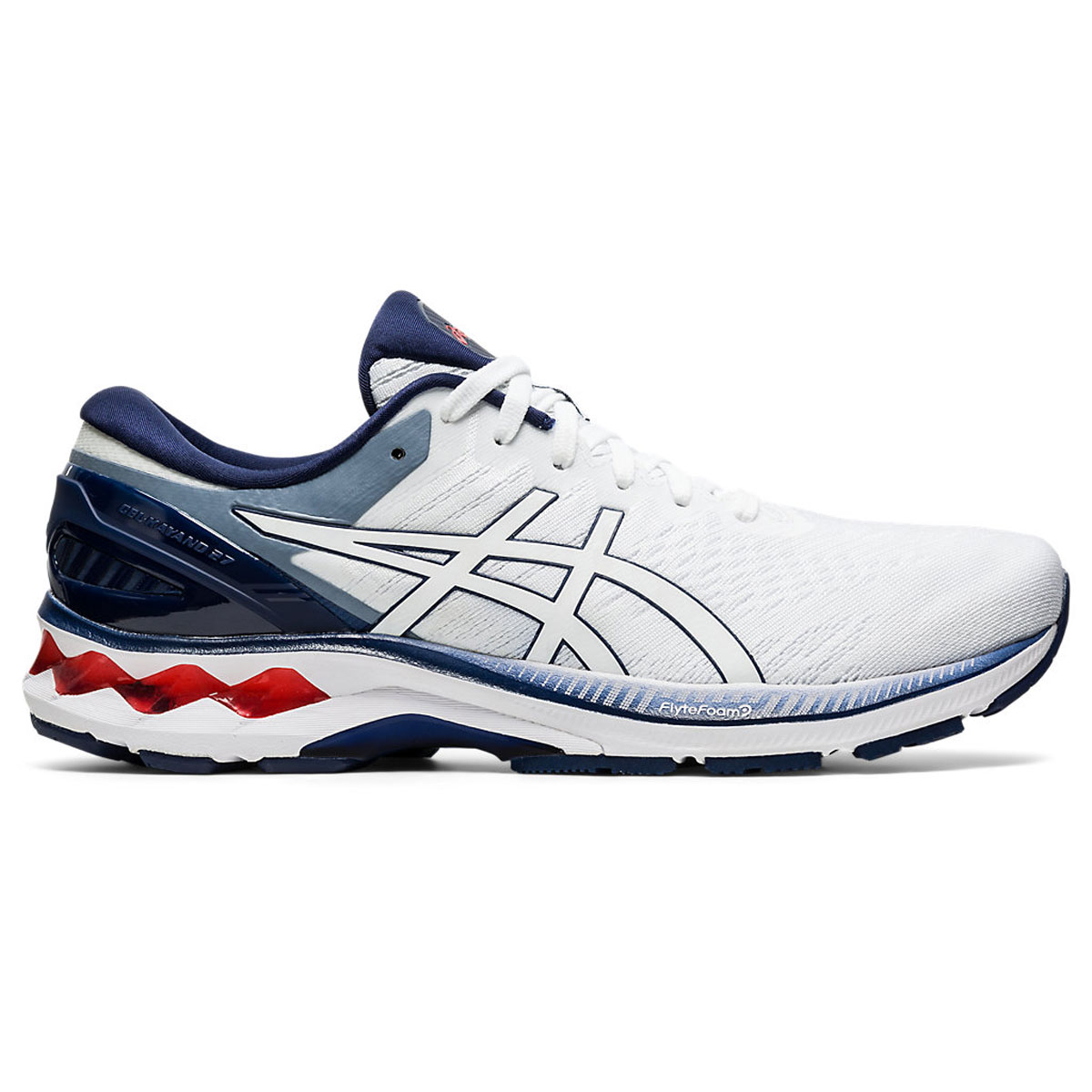 Men's Asics GEL-Kayano 27 Running Shoe - Color: White/Peacoat (Regular Width) - Size: 6, White/Peacoat, large, image 1