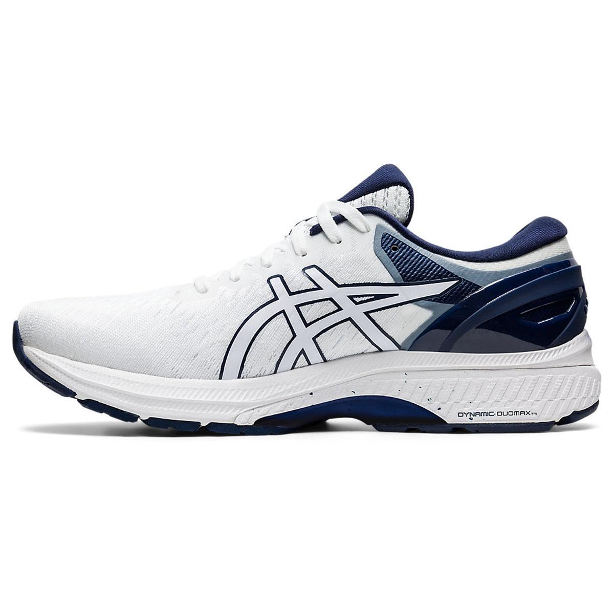 Men's Asics GEL-Kayano 27 Running Shoe - Color: White/Peacoat (Regular Width) - Size: 6, White/Peacoat, large, image 2