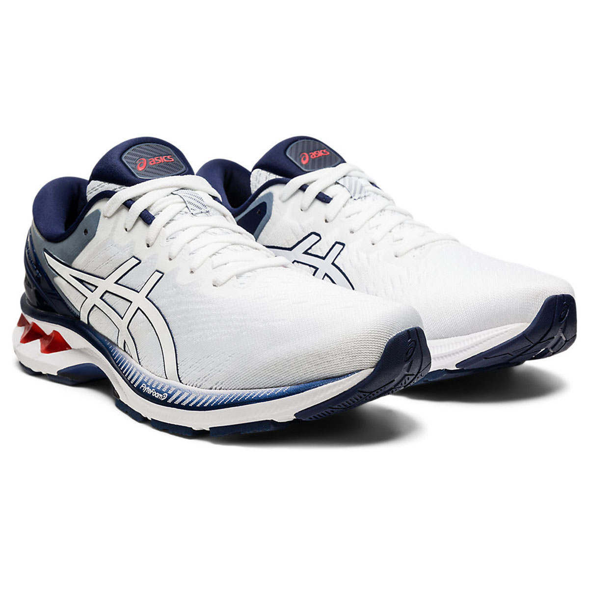Men's Asics GEL-Kayano 27 Running Shoe - Color: White/Peacoat (Regular Width) - Size: 6, White/Peacoat, large, image 3