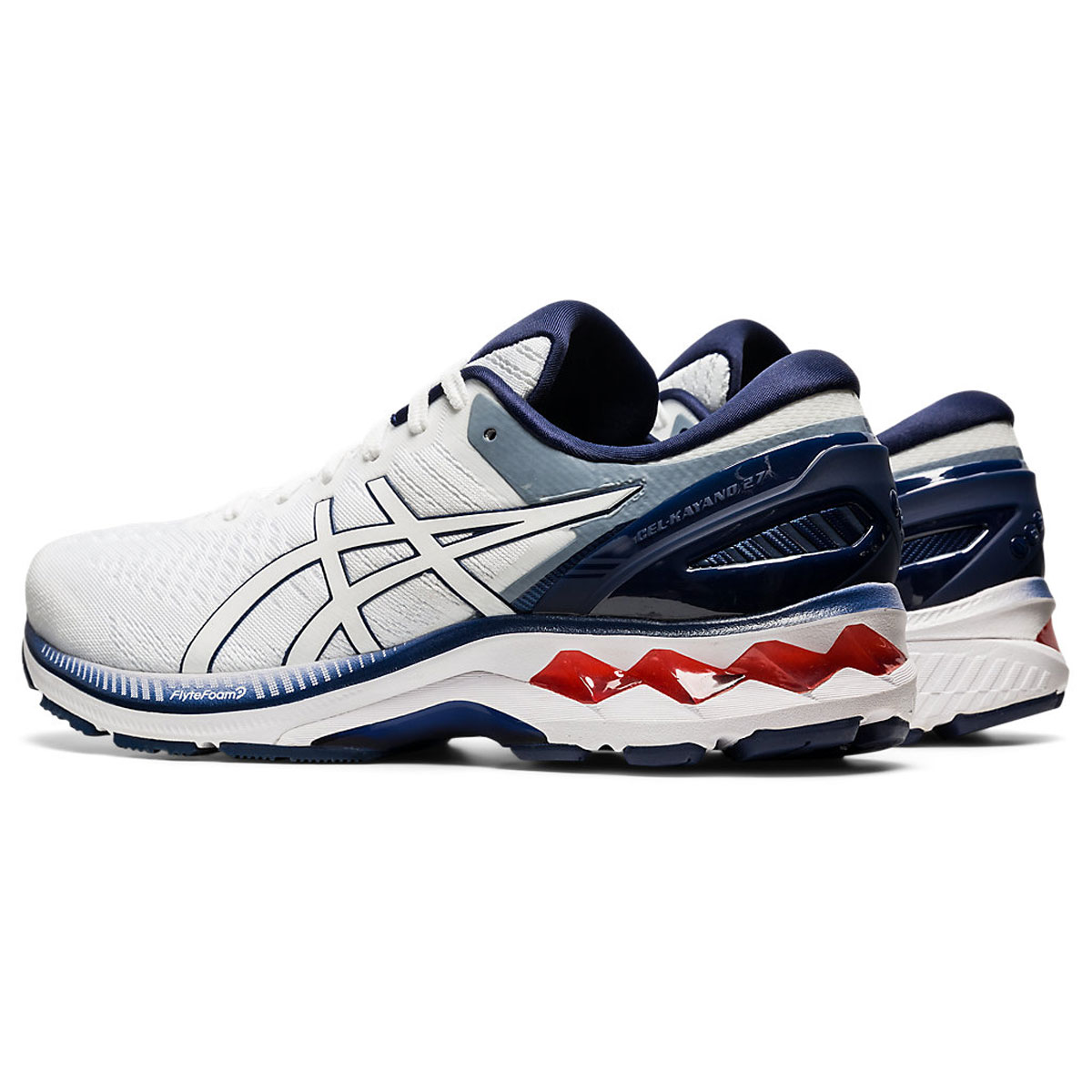 Men's Asics GEL-Kayano 27 Running Shoe - Color: White/Peacoat (Regular Width) - Size: 6, White/Peacoat, large, image 4