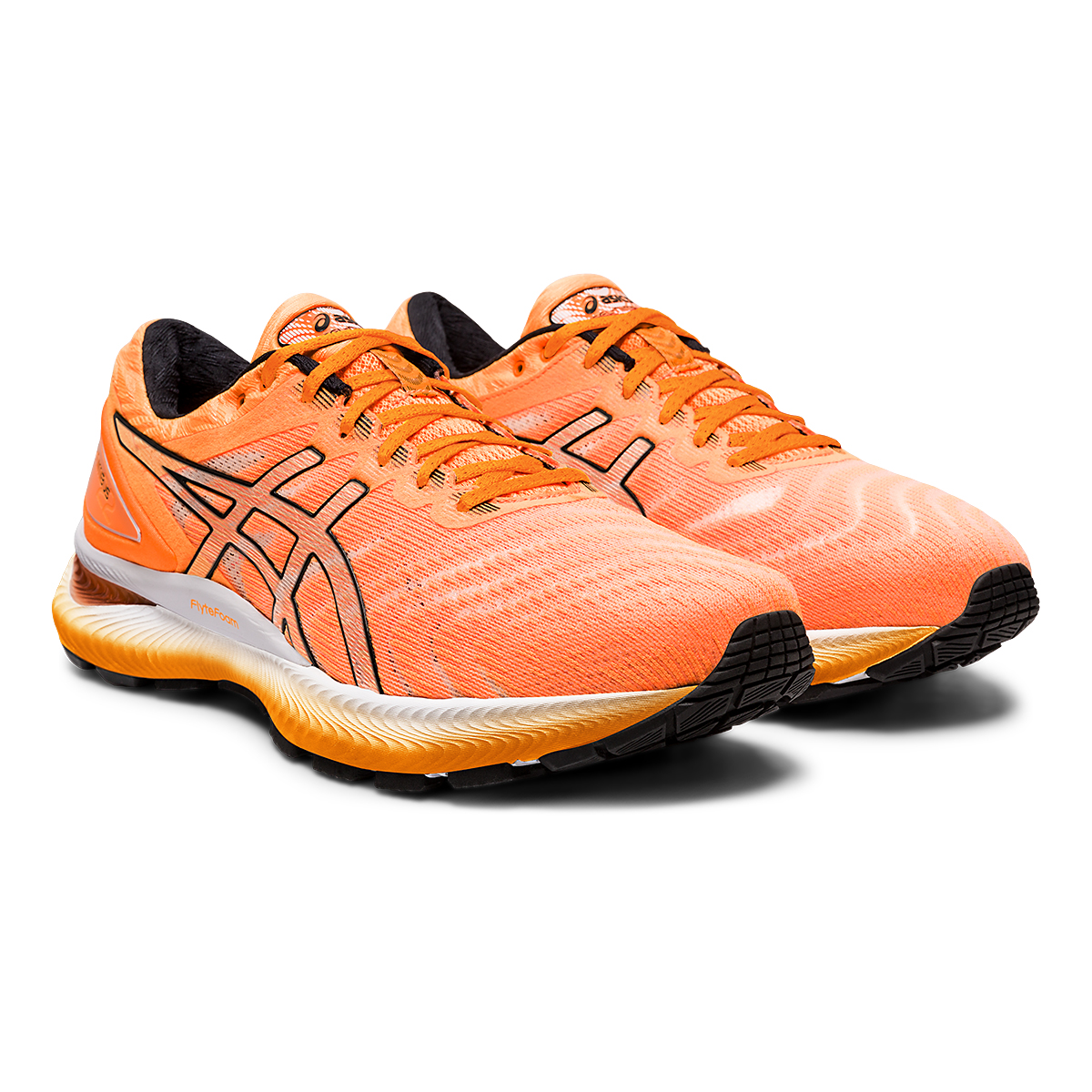 Men's Asics GEL-Nimbus 22 Modern Tokyo Running Shoe - Color: Orange Pop/Black - Size: 6 - Width: Regular, Orange Pop/Black, large, image 2