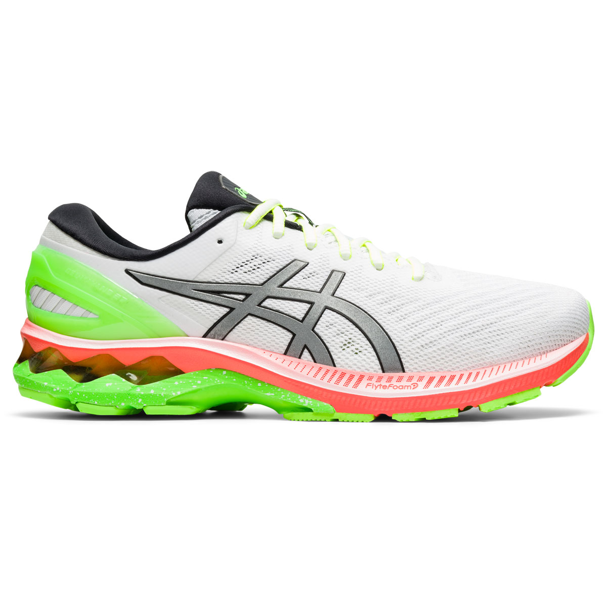 Men's Asics GEL-Kayano 27 Lite-Show Running Shoe - Color: White/Pure Silv (Regular Width) - Size: 6, White/Pure Silver, large, image 1
