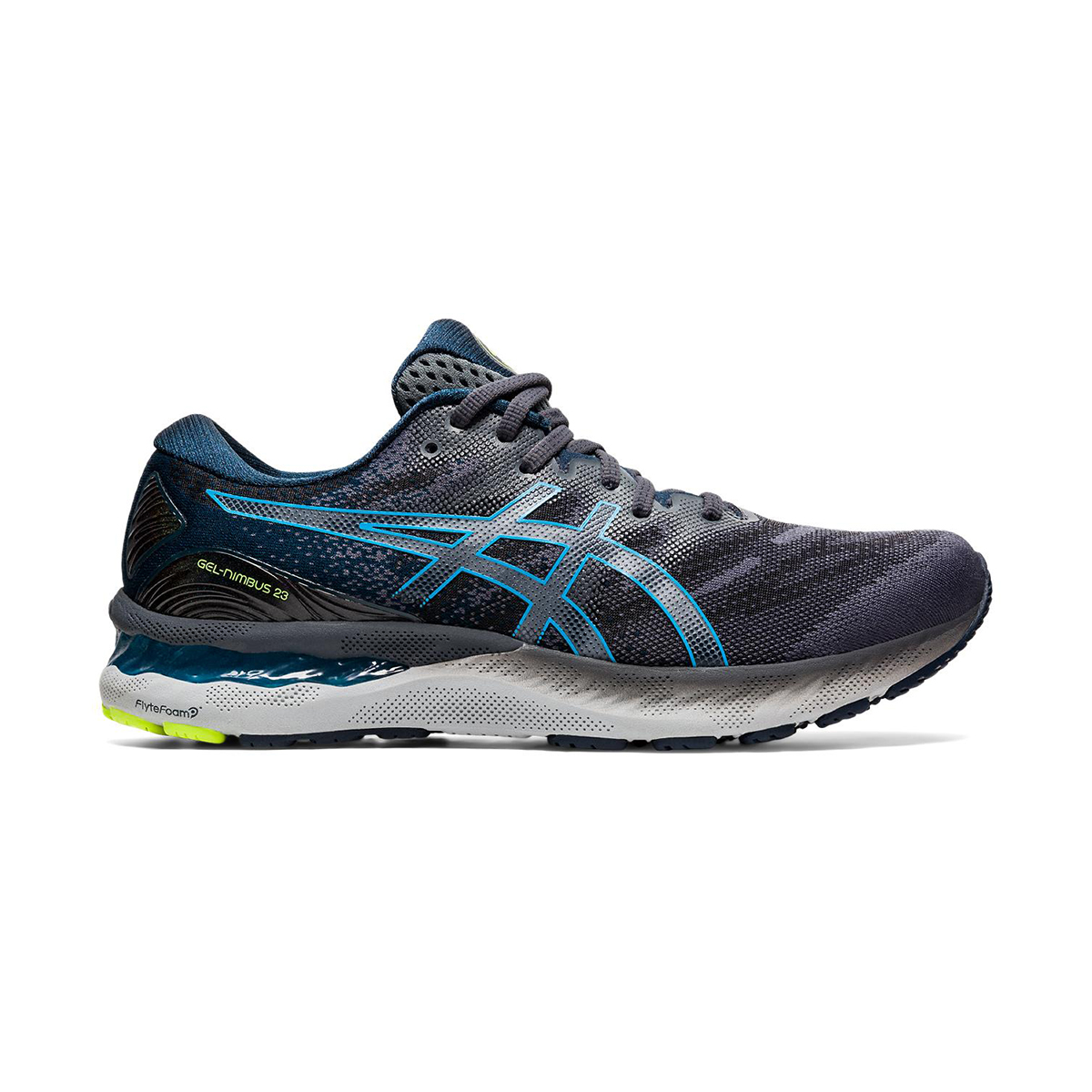 Men's Asics GEL-Nimbus 23 Running Shoe - Color: Carrier Grey/Digital Aqua - Size: 8.5 - Width: Regular, Carrier Grey/Digital Aqua, large, image 1