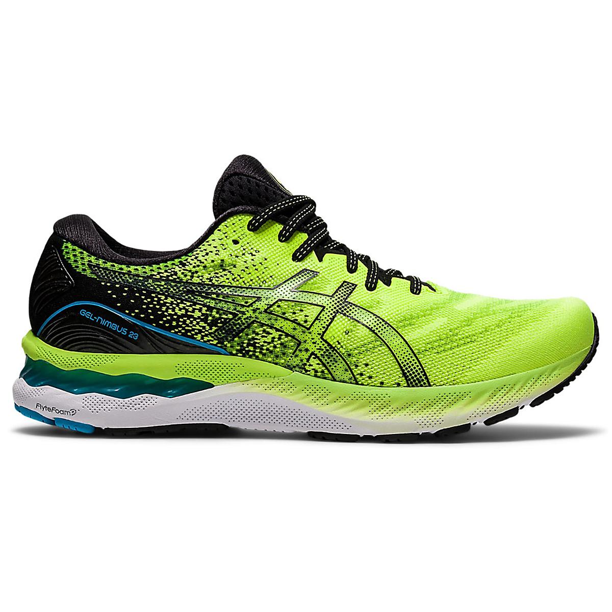 Men's Asics Gel-Nimbus 23 Running Shoe - Color: Hazard Green/Black - Size: 7 - Width: Regular, Hazard Green/Black, large, image 1