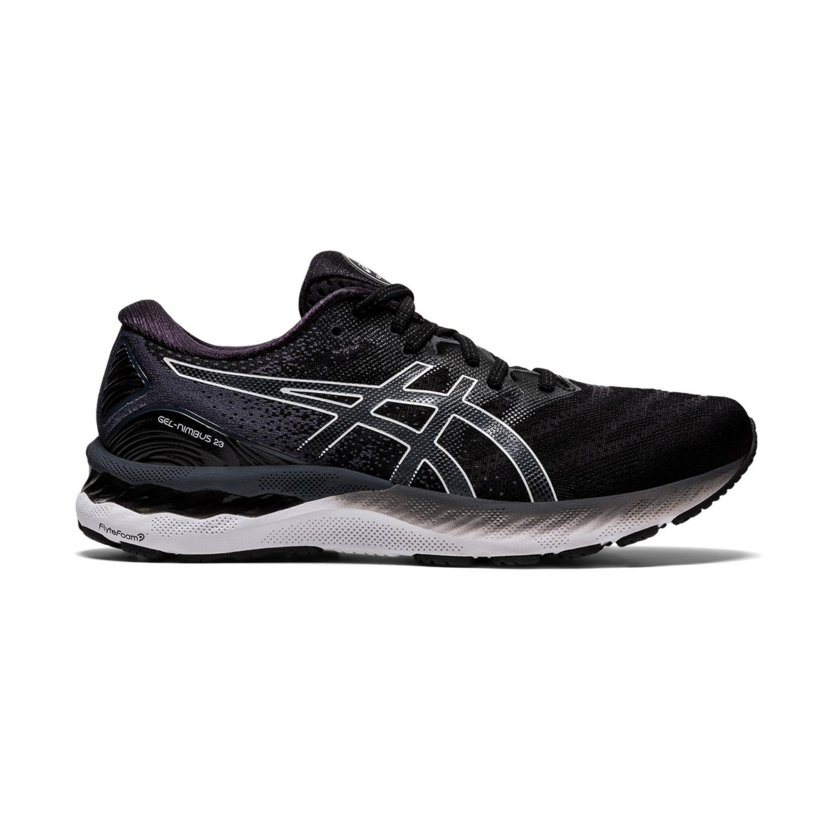 Men's Asics GEL-Nimbus 23 Running Shoe - Color: Black/White - Size: 7 - Width: Regular, Black/White, large, image 1