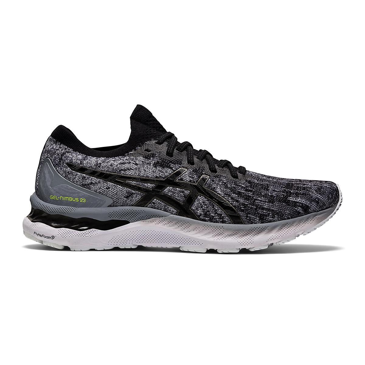 Men's Asics Gel-Nimbus 23 Knit Running Shoe - Color: Sheet Rock/Black - Size: 7 - Width: Regular, Sheet Rock/Black, large, image 1