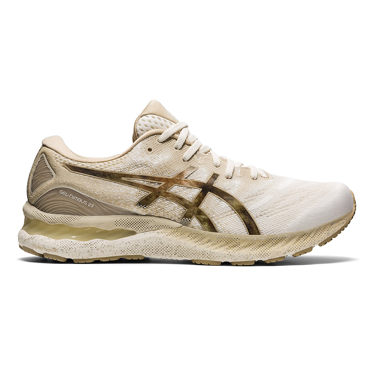 Men's Asics Gel-Nimbus 23 Earth Day Running Shoe - Color: Cream/Putty - Size: 7 - Width: Regular, Cream/Putty, large, image 1
