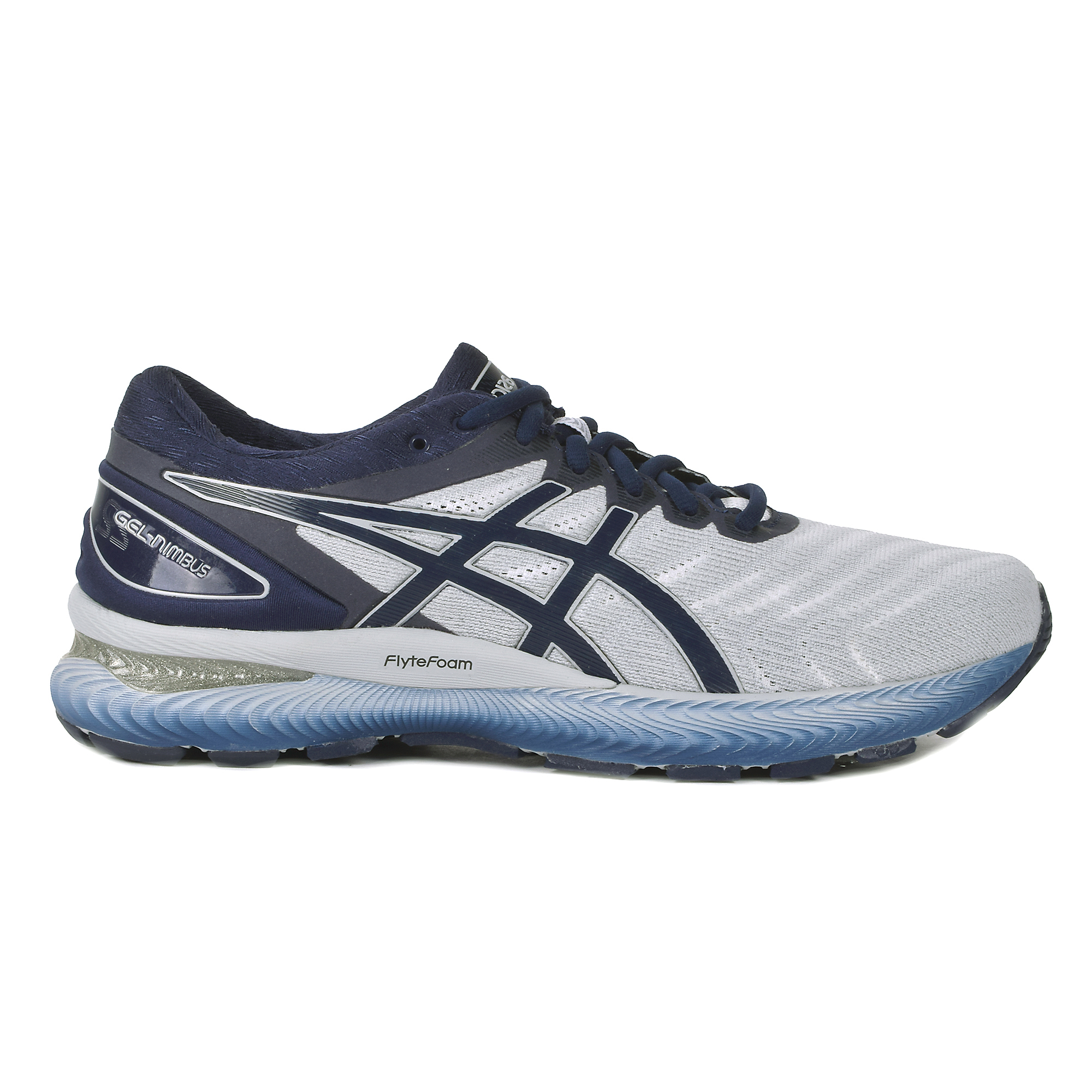 Men's Asics Gel-Nimbus 22 Running Shoe - Color: White/Peacoat (Regular Width) - Size: 7, Grey, large, image 1