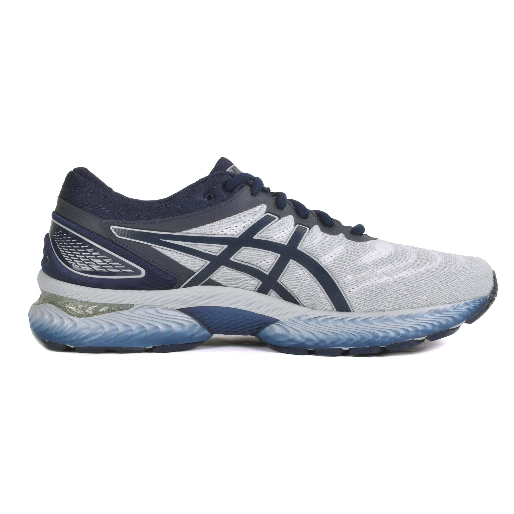 Men's Asics Gel-Nimbus 22 Running Shoe - Color: White/Peacoat (Regular Width) - Size: 7, Grey, large, image 3