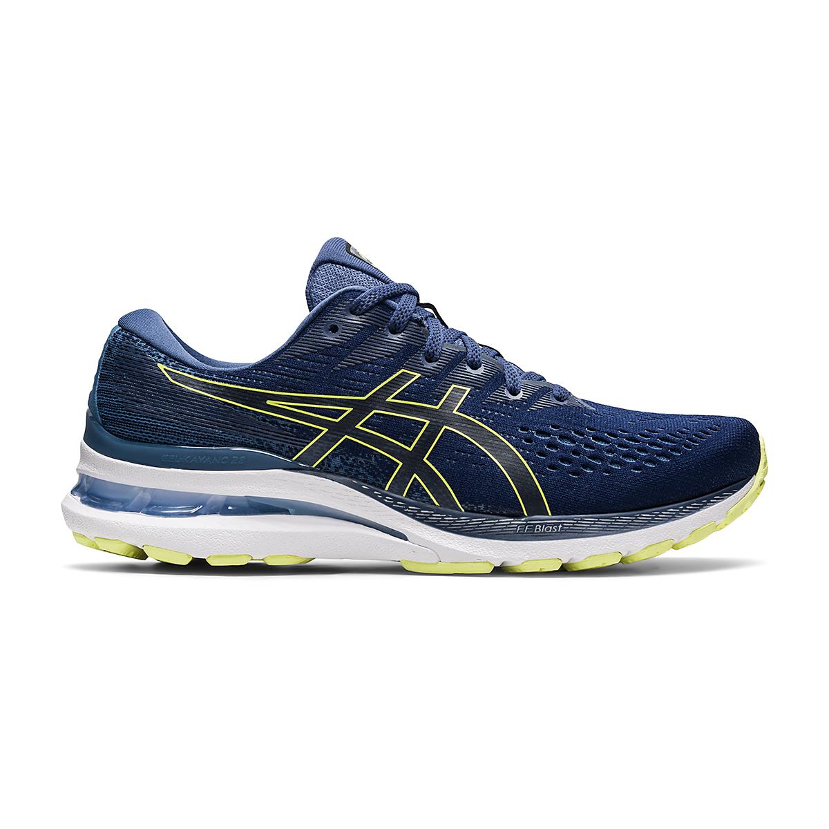Men's Asics Gel-Kayano 28 Running Shoe - Color: Thunder Blue/Glow Yellow - Size: 7 - Width: Regular, Thunder Blue/Glow Yellow, large, image 1