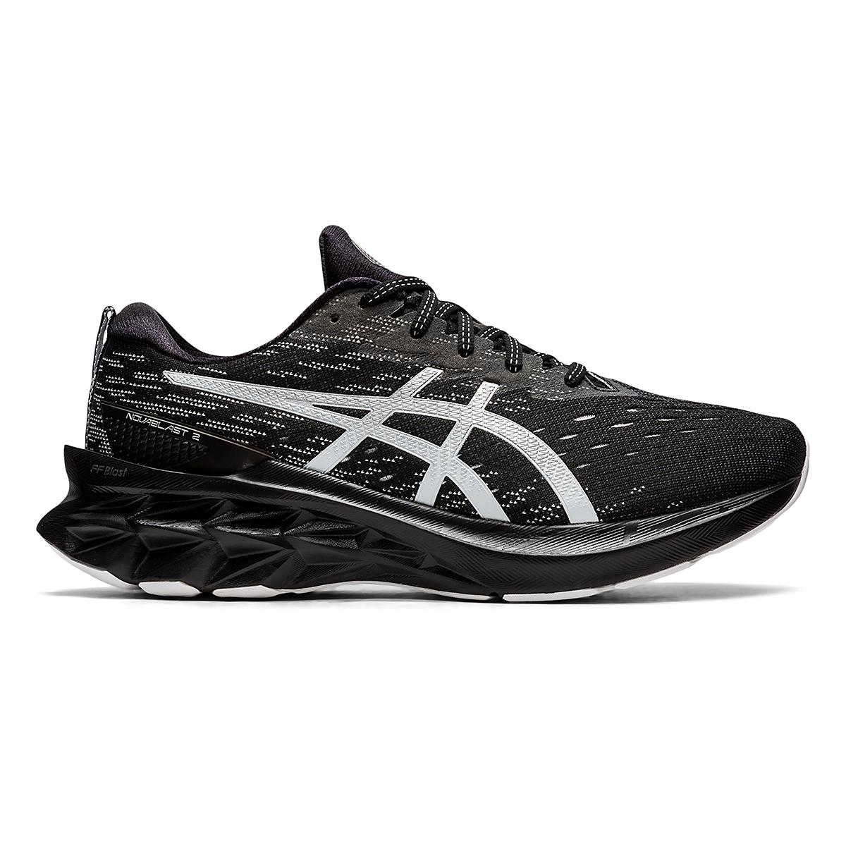 Men's Asics Novablast 2 Running Shoe - Color: Black/Pure Silver - Size: 6 - Width: Regular, Black/Pure Silver, large, image 1
