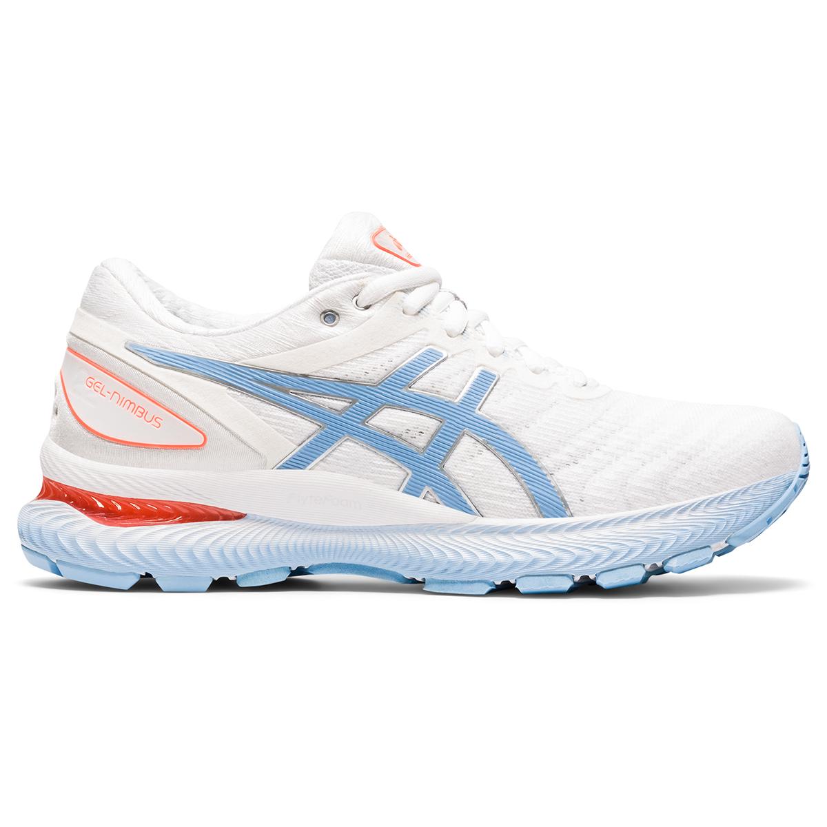 Women's Asics Gel-Nimbus 22 Running Shoe - Color: White/Blue Bliss - Size: 5 - Width: Regular, White/Blue Bliss, large, image 1