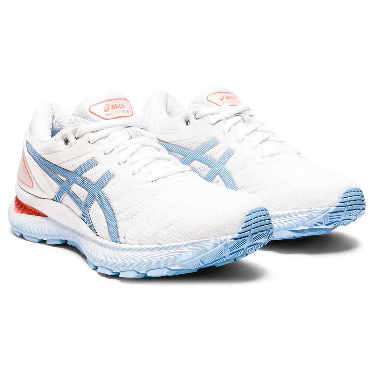 Women's Asics Gel-Nimbus 22 Running Shoe - Color: White/Blue Bliss - Size: 5 - Width: Regular, White/Blue Bliss, large, image 4
