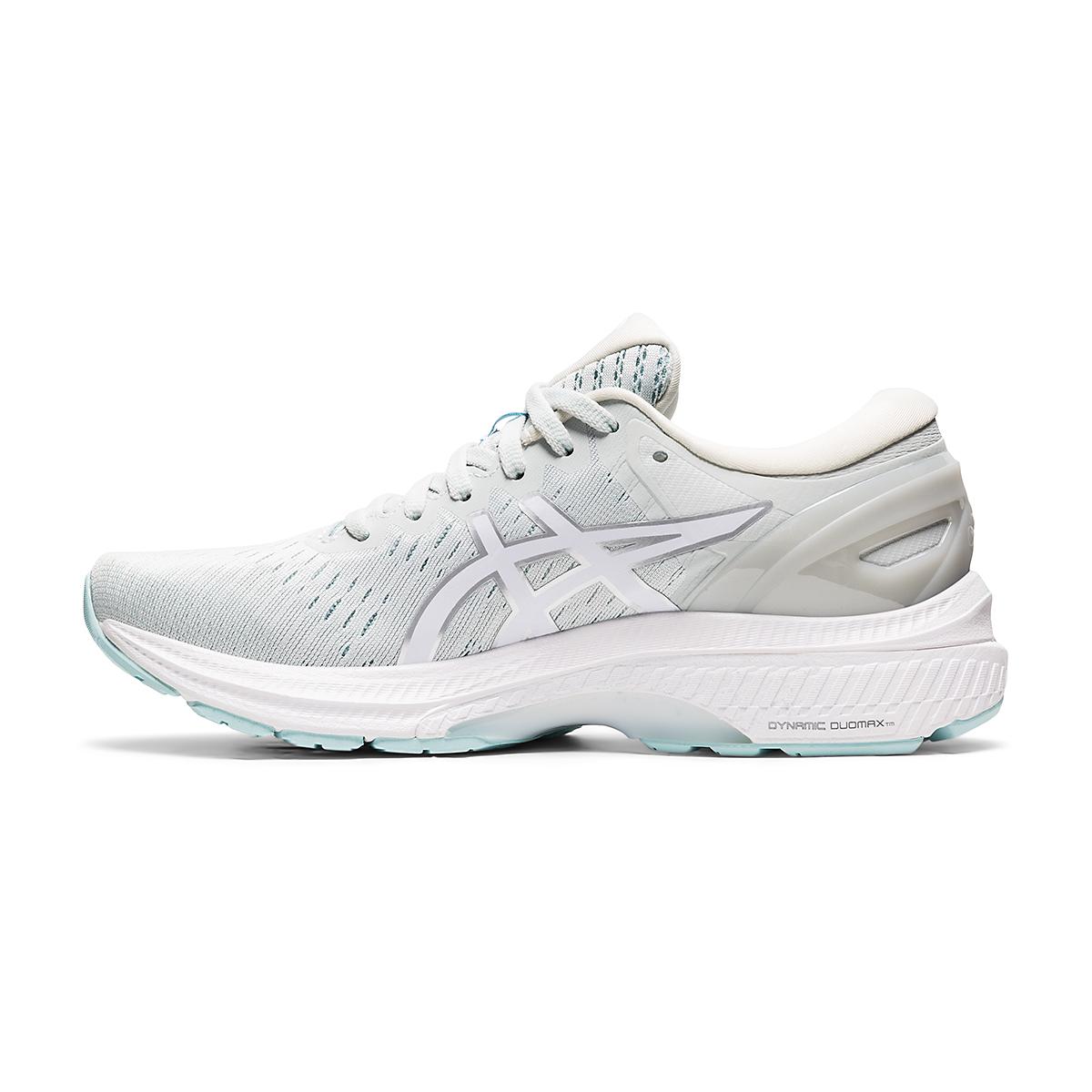 Women's Asics GEL-Kayano 27 Running Shoe - Color: Glacier Grey/White - Size: 6 - Width: Regular, Glacier Grey/White, large, image 2