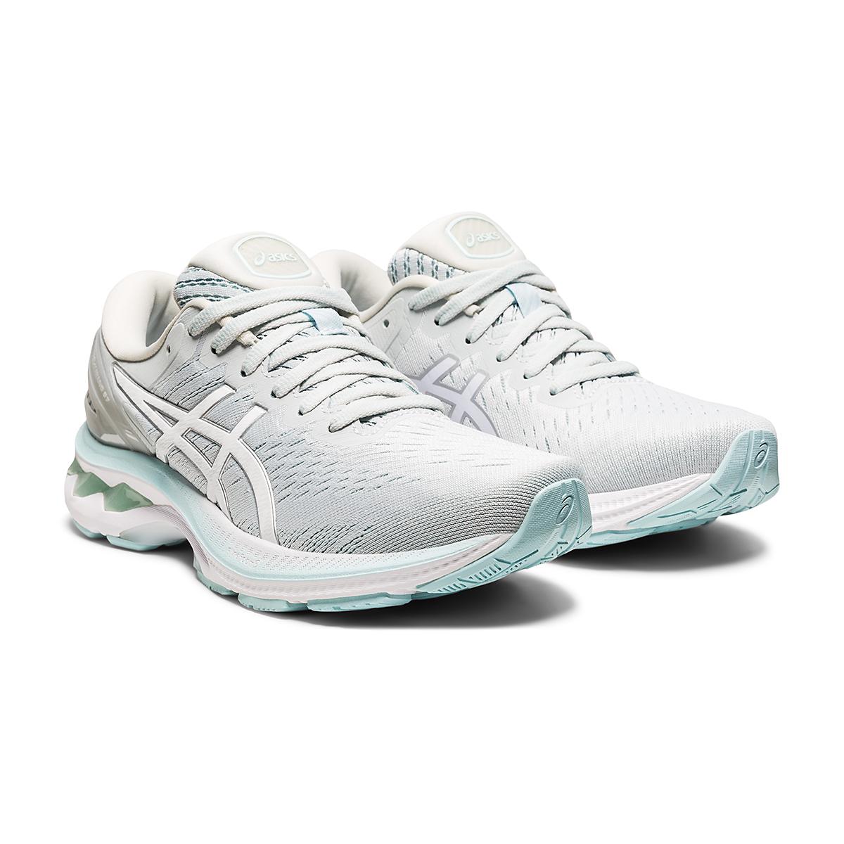 Women's Asics GEL-Kayano 27 Running Shoe - Color: Glacier Grey/White - Size: 6 - Width: Regular, Glacier Grey/White, large, image 3