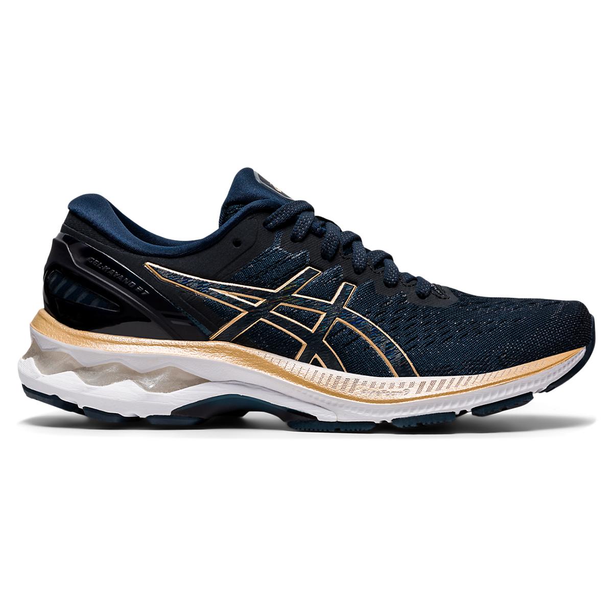 Women's Asics Gel-Kayano 27 Running Shoe - Color: French Blue/Black/Orange - Size: 5 - Width: Regular, French Blue/Black/Orange, large, image 1