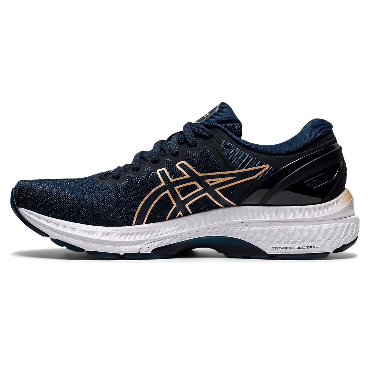 Women's Asics Gel-Kayano 27 Running Shoe - Color: French Blue/Black/Orange - Size: 5 - Width: Regular, French Blue/Black/Orange, large, image 2